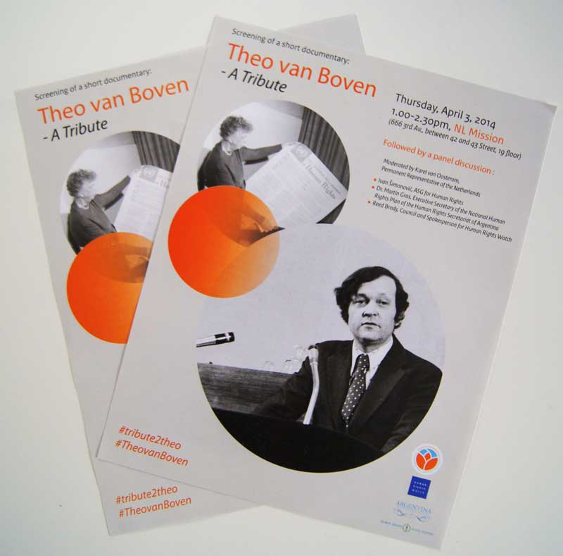Flyers for the sreening of The van Boven - A tribute